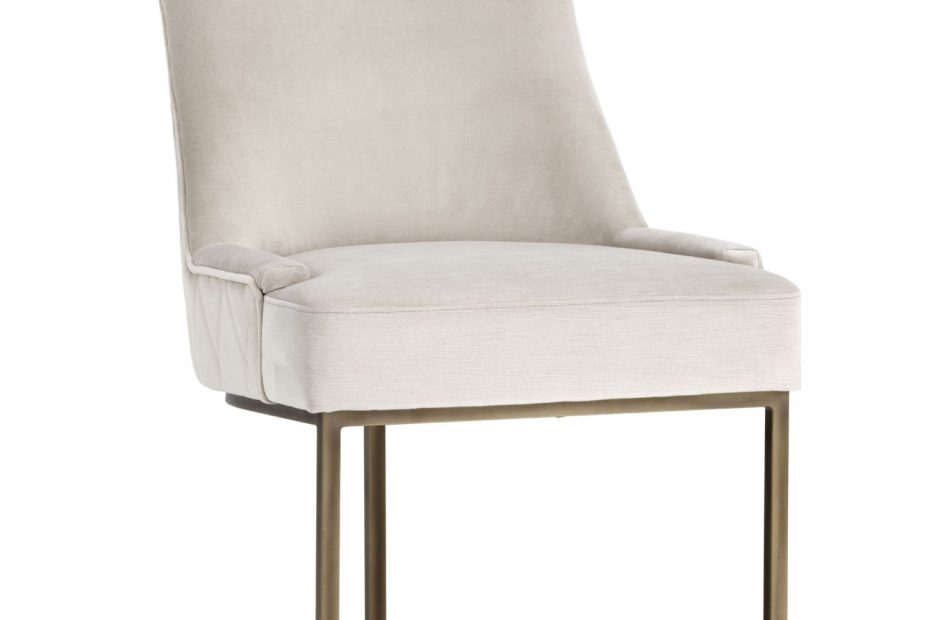 sunpan florence dining chair in prosecco fabric on rustic