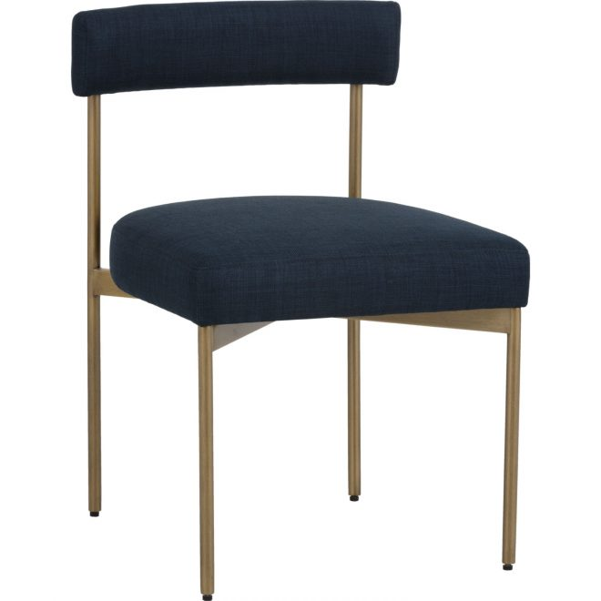 sunpan seneca dining chair navy fabric on antique brass set