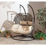 suntime outdoor living brampton 535 in 2 person brown metal patio swing with beige cushions