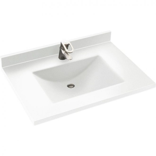 swan contour 31 in w x 22 in d solid surface vanity top with sink