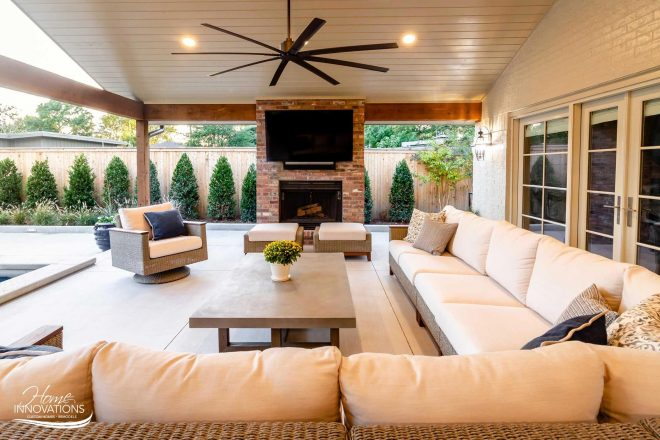 swimming pool hot tub outdoor kitchen living area with