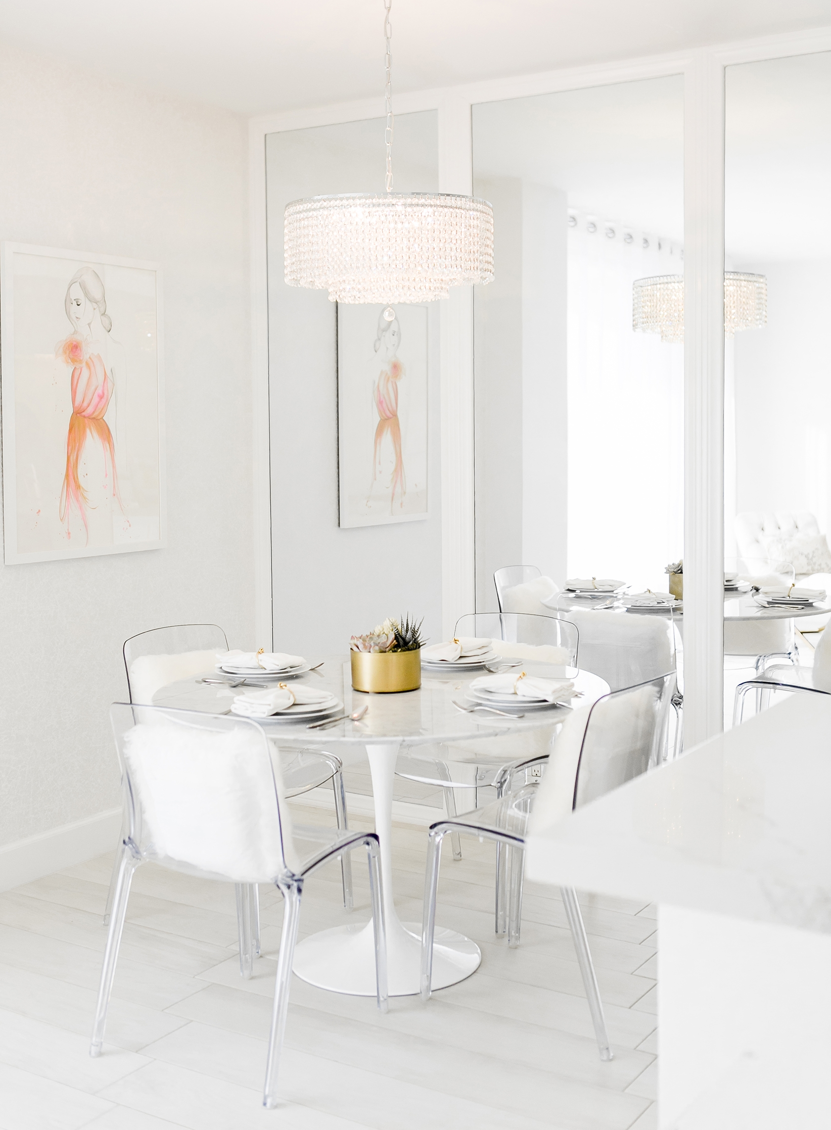 sydne style shows white dining room decor ideas with crystal
