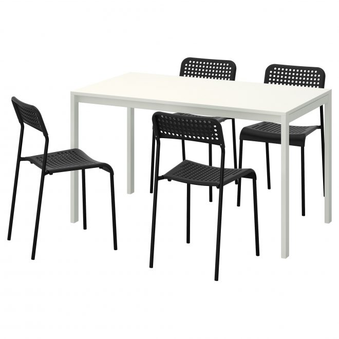 table and 4 chairs melltorp adde white black white