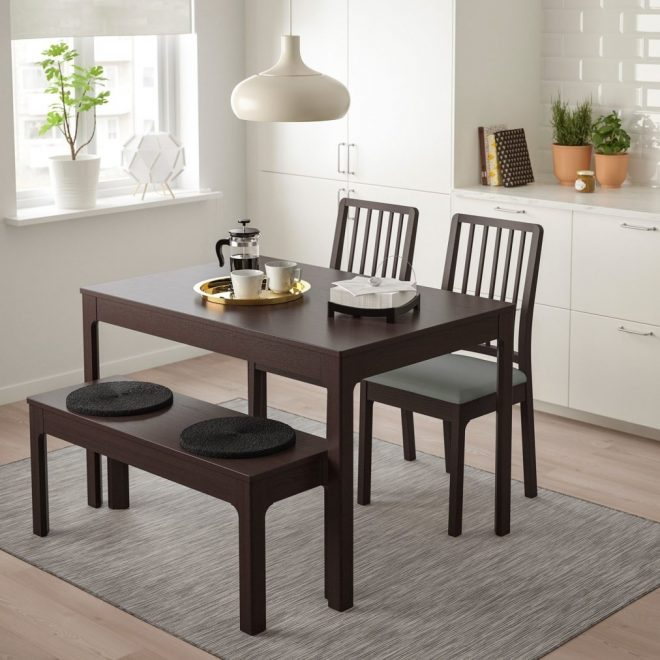 table set with bench dining room square for industrial