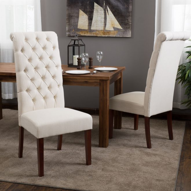 tall natural tufted fabric dining chair set of 2