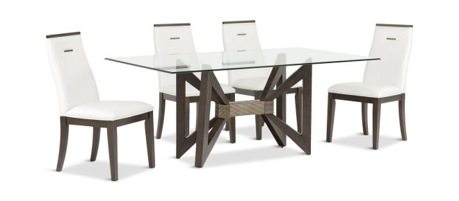 tempo glass dining table with 4 chairs