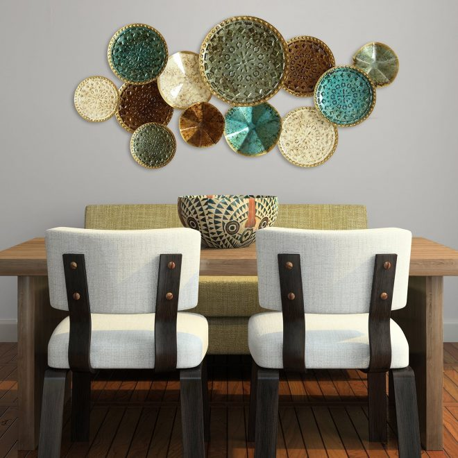 the curated nomad mel home multicolor metal plates wall decor