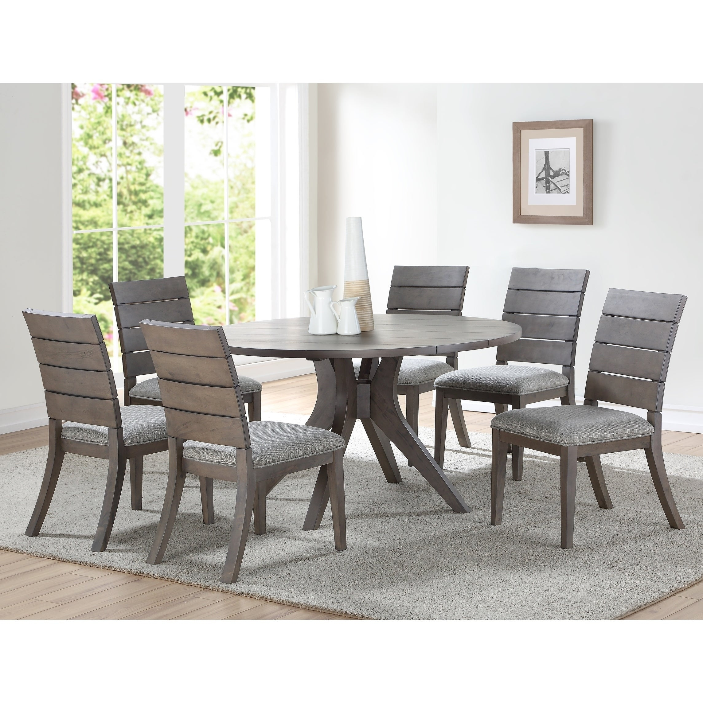 the gray barn abernathy grey and oak wood 54 inch round modern dining table