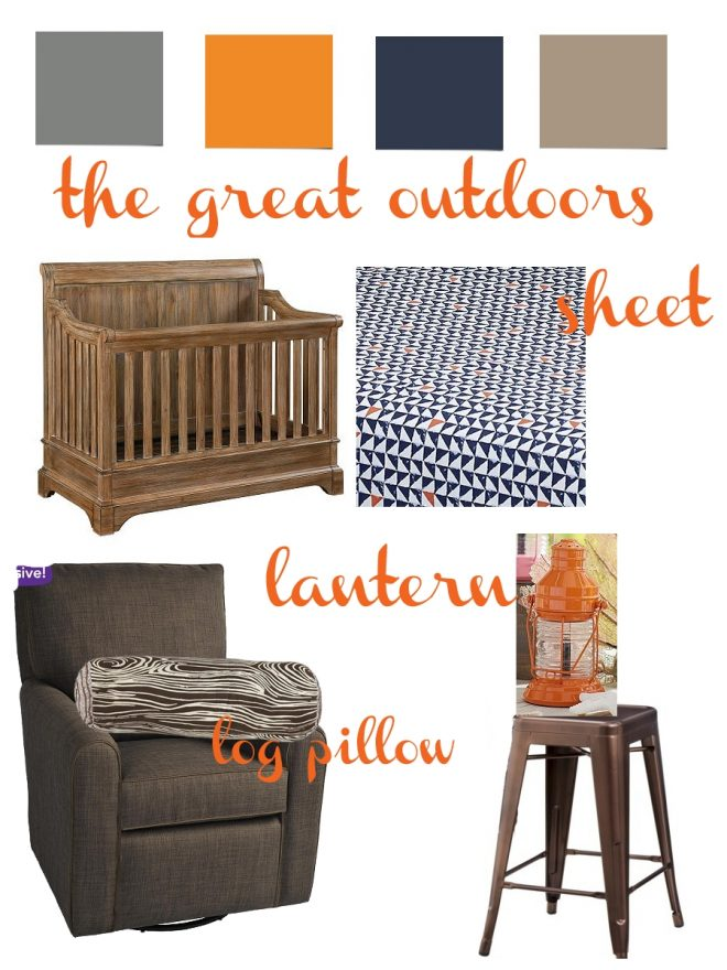 the great outdoors nursery mood board featuring gray