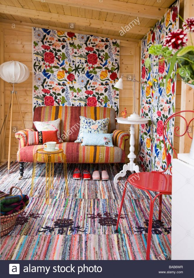 the interior of a garden shed equipped as a living room