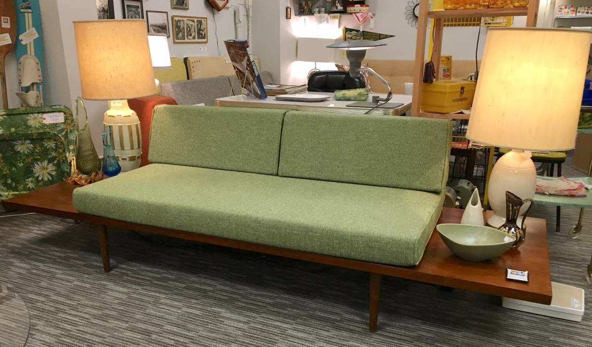 the mesa mid century platform sofa with side tables