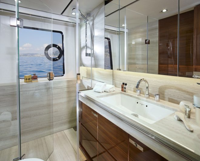 the stunning starboard double cabin bathroom on board the