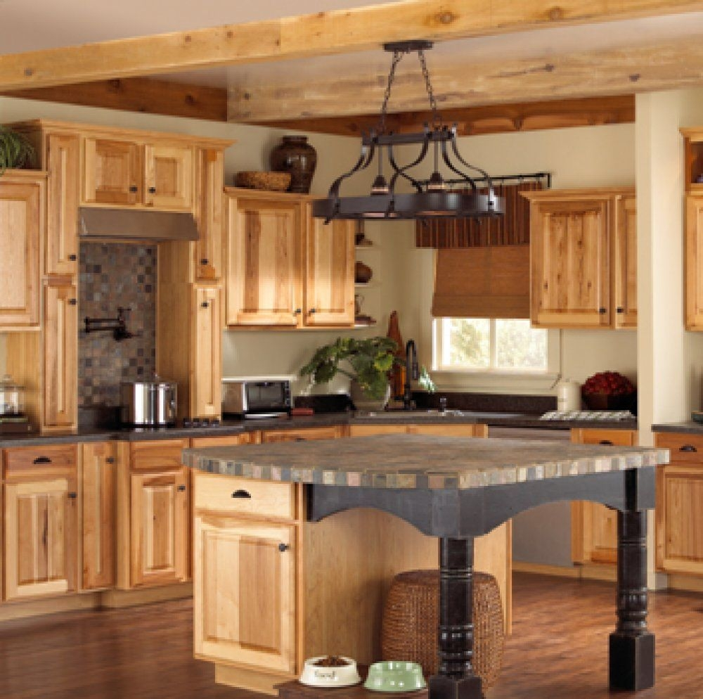 these natural hickory kitchen cabinets have built in