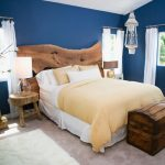 this bold royal blue bedroom is softly contrasted the