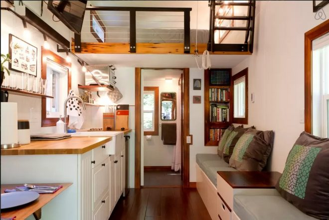 this tidy tiny home actually has room for you and a guest small