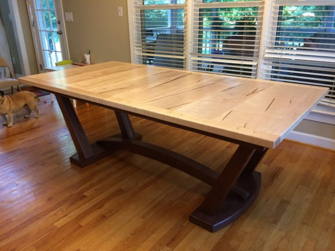 tiger maple walnut trestle table with butterfly leaf