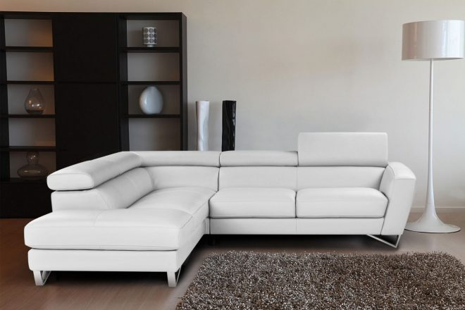 tosh furniture modern white compact leather sectional sofa