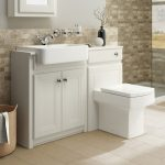 traditional bathroom vanity unit basin sink back to wall toilet btw