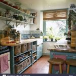 traditional country kitchen green units red quarry tiled