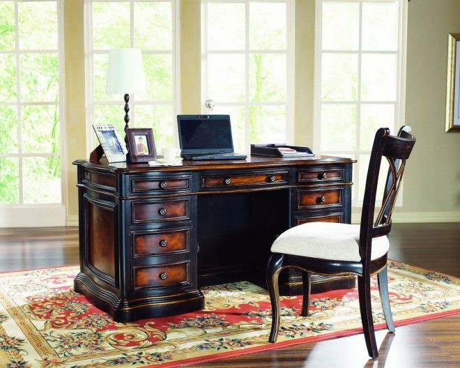 traditional dark brown wood functional desk design