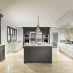 traditional kitchen oak island lacquered new england