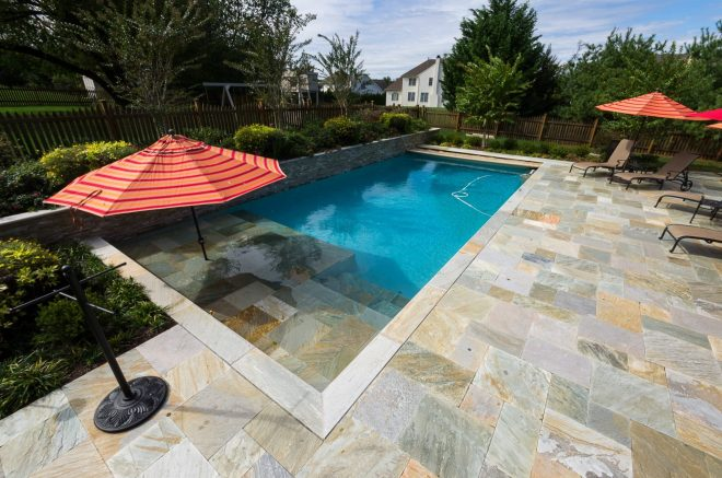 traditional pool and outdoor living field of dreams