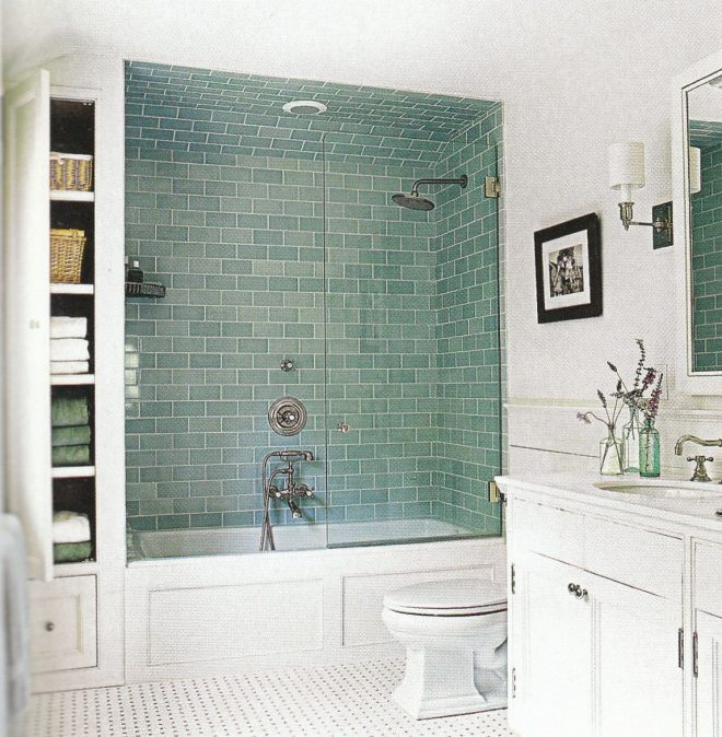 traditional white bathroom with classic vanity and white
