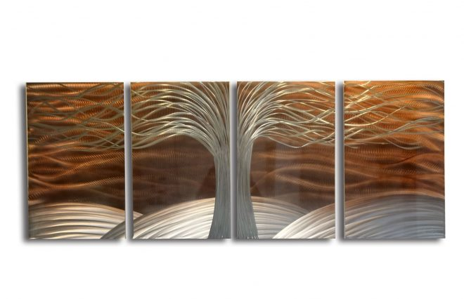 tree of life burnt copper metal wall art abstract contemporary modern decor