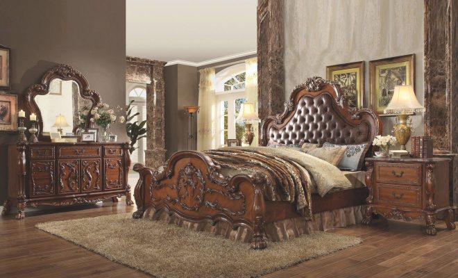 tufted cherry oak king bedroom set 4pcs dresden 23137ek acme