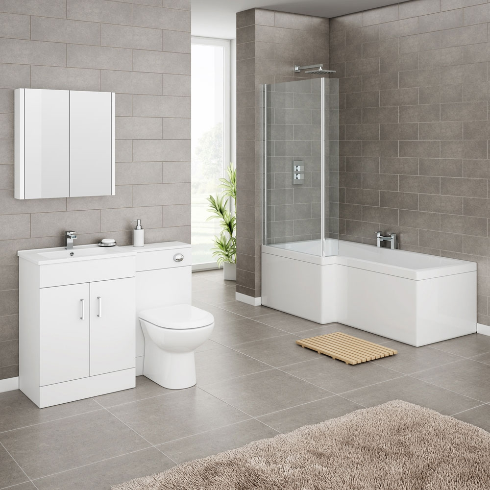 turin high gloss white vanity unit bathroom suite with square shower