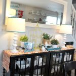 two cabinets to create a buffet table in the dining room