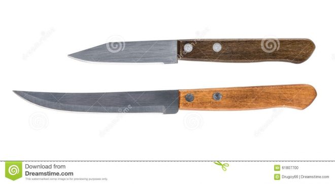two simple kitchen knife with wooden handles stock photo