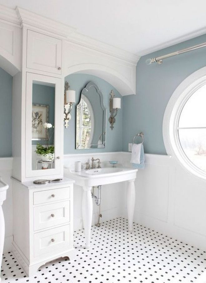 two toned bathroom paint colors between white and green color