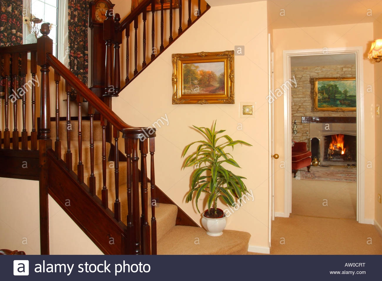 uk property house interior traditional hall stairs and view to