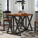 union rustic tesch expandable solid wood dining table reviews