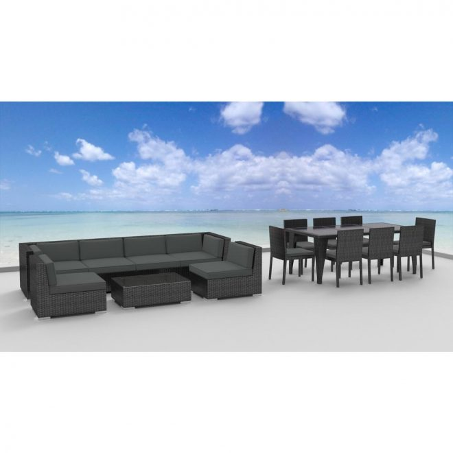 urban furnishing gray series 16 piece wicker outdoor sectional seating set with gray cushions