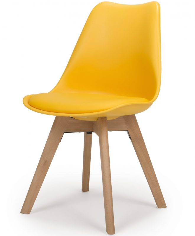 urban yellow molded dining chair with beech legs