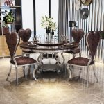 us 10780 rama dymasty stainless steel dining room set home furniture modern marble dining table and 6 chairsround dining table in dining tables
