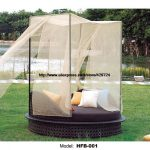 us 11990 holiday beach bed round rattan sofa bed terrace sun lying bed outdoor leisure patio balcony lounge sofa bed with tent furniture in garden