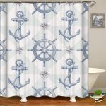 us 1299 nautical anchor shower curtainsmildew resistant fabric shower curtainnavy shower curtains for bathroomprint bathroom curtains in shower