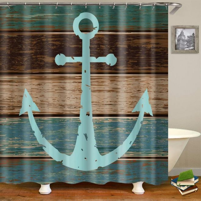 us 1299 vintage nautical anchor rustic wooden planks bathroom shower curtainshower curtains aliexpress