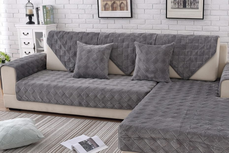 us 1342 45 offgrey pink plaid quilted plush sectional sofa cover slipcovers furniture couch covers sofa protector capa de sofa fundas sp5623sofa