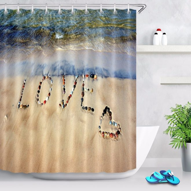 us 1403 46 off72 word love on sand beach expression bathroom fabric shower curtain waterproof polyester curtain sets 12 hooks in shower