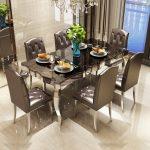 us 14280 rama dymasty stainless steel dining room set home furniture modern marble dining table and 6 chairsrectangle table in dining tables from