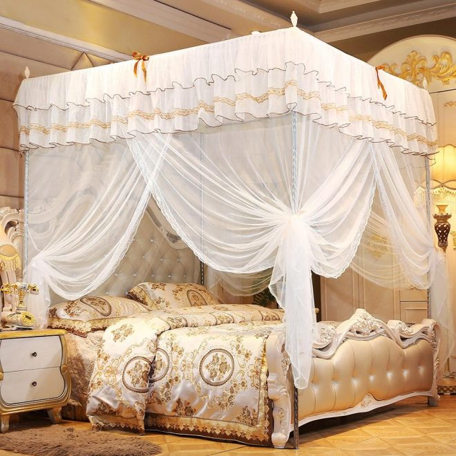 us 1595 28 offluxury princess 4 corners post bed canopy mosquito net bedroom mosquito netting bed curtain canopy netting mosquito in mosquito net