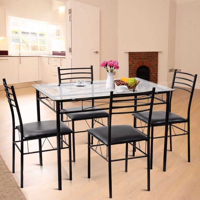 us 16999 giantex 5pc dining set modern dining room tempered glass top table 4 upholstered dining chairs kitchen furniture hw56030 on aliexpress