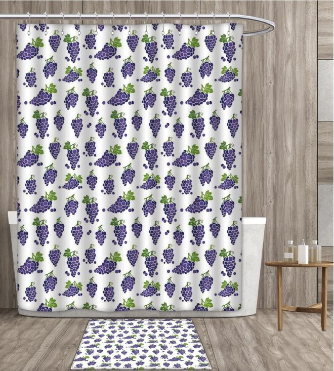 us 1724 25 offvineyard shower curtain customize cute fruit patterned juicy organic yummy sweet food cottage life design fabric bathroom set in