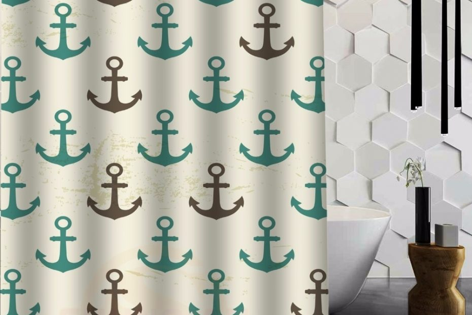us 1899 50 offoriginal fabric shower curtain custom retro seamless pattern of nautical anchor shower curtain 48 in x 72 in 9 holes in shower