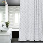 us 1913 13 offaimjerry white and grey bathtub bathroom fabric shower curtain with 12 hooks 71wx71h high quality waterproof and mildewproof 041 in