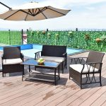 us 19699 giantex 4 pc garden furniture set outdoor patio sectional pe wicker rattan deck table sofa chairs set with cushions hw55431 on aliexpress